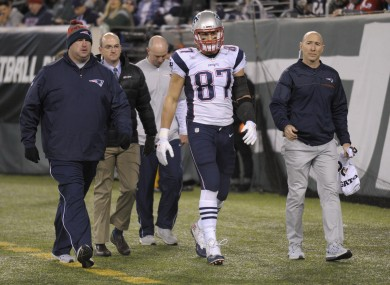 Rob Gronkowski walks off the field with an injury during last weekend's game against the New York Jets.