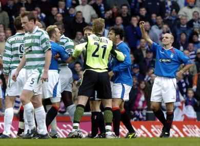 Rangers Alex Rae (R) pictured during a 2004 Old Firm derby.