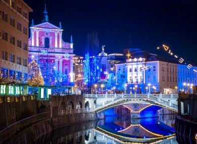 Slovenian capital Ljubjana lit up at Christmas time