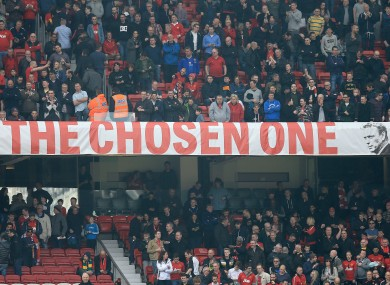 General view of the David Moyes 'The Chosen One' banner at Old Trafford in 2014.