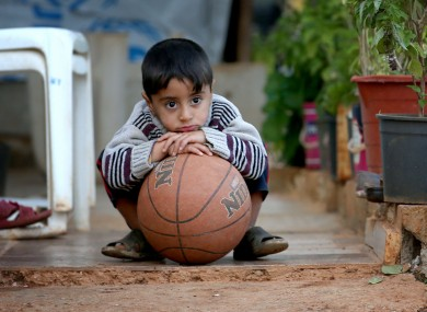 A Syrian refugee child in Lebanon on Sunday.