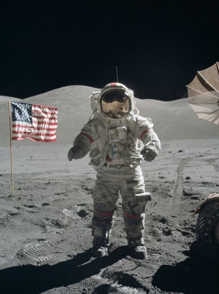Cernan at the beginning of EVA 3 on the moon.