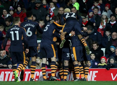 Newcastle United's Daryl Murphy is mobbed by team-mates after scoring his sides second goal of the game