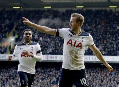 Harry Kane celebrates a goal.