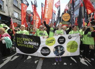 Dunnes Stores workers protested in 2015 against zero hour contracts.