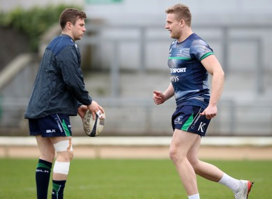 Carty, left, with Steve Crosbie who was drafted in to help ease Connacht's out-half crisis.