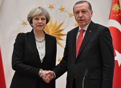 UK Prime Minister Theresa May and President of Turkey Recep Tayyip Erdogan
