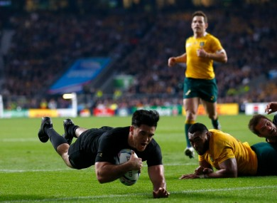 Nehe Milner-Skudder scores the first try of the World Cup final