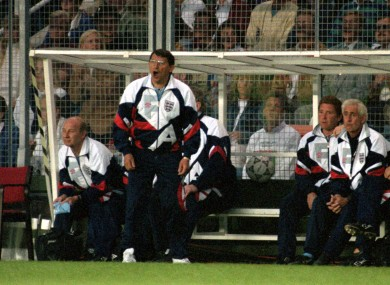 England manager Graham Taylor shouts from the bench in 1992.