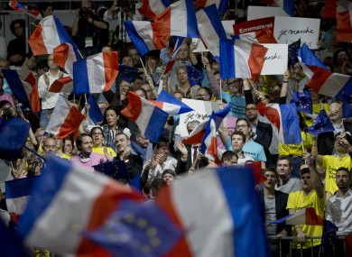 Supporters of Presidential candidate Emmanuel Macron at a rally in Lyon.