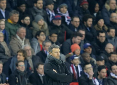Barcelona's head coach Luis Enrique reacts during the Champions League first leg knockout round match.