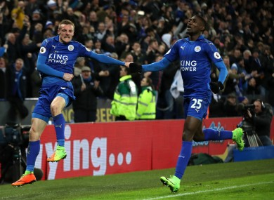 Leicester City's Jamie Vardy celebrates scoring his side's third goal.