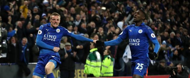 Leicester City's Jamie Vardy celebrates scoring his side's third goal.
