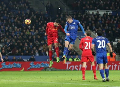 Jamie Vardy heads home his second goal.