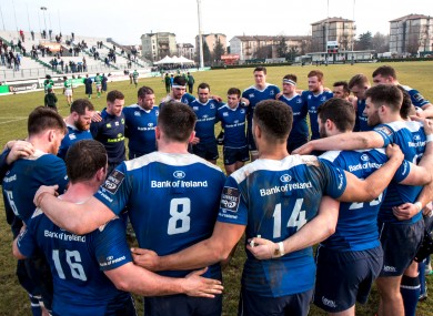 Leinster ran in six tries to secure all five points in Italy.