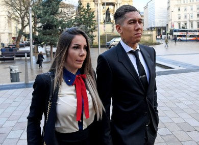 Roberto Firmino arriving at Liverpool City Magistrates Court with his wife Larissa Pereira.