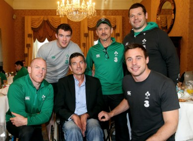 Van der Westhuizen meeting Ireland's Paul O'Connell, Peter O'Mahony, Les Kiss, Mike Ross and Tommy Bowe at Dublin's Shelbourne Hotel in 2014.