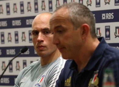 O'Shea sitting alongside Parisse at yesterday's post-match press conference.