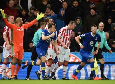 Everton's Seamus Coleman (centre) celebrates his side's goal.