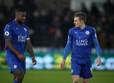 Leicester City's Wes Morgan (left) and Jamie Vardy after the Premier League match at the Liberty Stadium, Swansea.