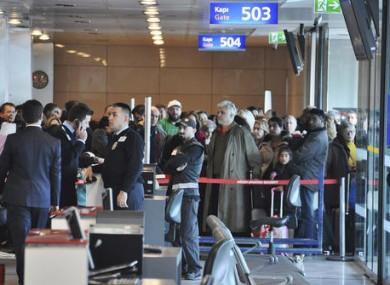 Passengers waiting to board the flight at Istanbul's Ataturk International Airport.