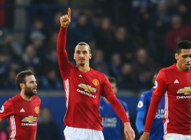Ibrahimovic found the back of the net against Leicester City on Sunday.