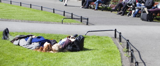 People enjoying the sunny weather in St Stephen's Green in Dublin.