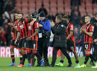 Bournemouth's Benik Afobe celebrates with team mates after the final whistle.
