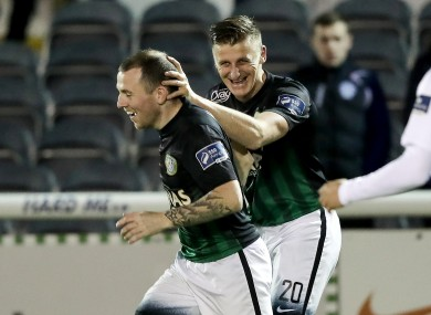 Bray Wanderers' goal scorer Anthony Flood celebrates with team-mate Gary McCabe.