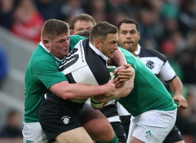 Furlong tackles Gopperth when Ireland met the Barbarians in 2015.