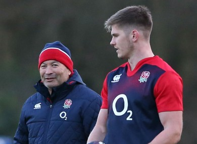 England coach Eddie Jones and Owen Farrell.