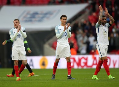 England's (left to right) John Stones, Jamie Vardy, Dele Alli and Kyle Walker after the World Cup Qualifying match at Wembley Stadium against Lithuania.