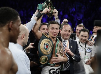 Golovkin with his belts.