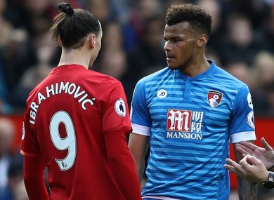 Manchester United star Zlatan Ibrahimovic and Bournemouth defender Tyrone Mings.