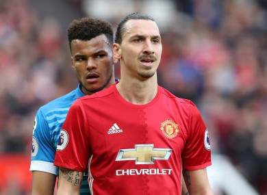 AFC Bournemouth's Tyrone Mings (left) and Manchester United's Zlatan Ibrahimovic during the Premier League match at Old Trafford.