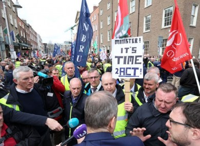 Bus Eireann staff and supporters at a protest outside Leinster House on Wednesday