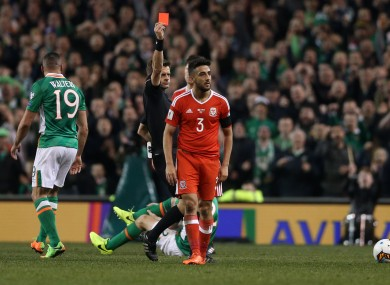 Neil Taylor was sent off for his challenge on the Ireland-Wales game.