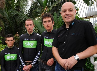 File photo dated 23-06-2011 of Team Sky's (from left) Ben Swift, Bradley Wiggins, Geraint Thomas and general manager David Brailsford.