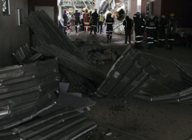 Emergency staff work at the scene of a roof collapse at the Charlotte Maxeke hospital in Johannesburg.