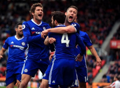 Chelsea's Gary Cahill (right) celebrates scoring his side's second goal of the game.