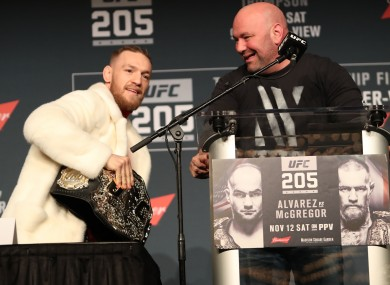 Conor McGregor, the UFC's lightweight champion, with Dana White, the organisation's president, at a press conference in New York last November.