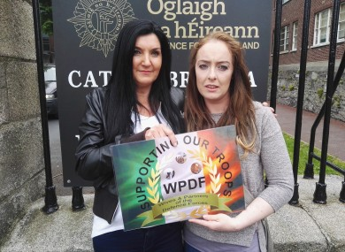 Sharon Dunne and Amy Walsh at Cathal Brugha barracks in Dublin today.
