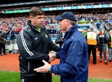 Éamonn Fitzmaurice and Jim Gavin after yesterday's league final.