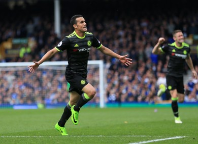 Chelsea's Pedro scores his side's first goal of the game of the game.