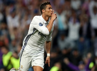 Real Madrid's Cristiano Ronaldo celebrates scoring his side's first goal of the game.