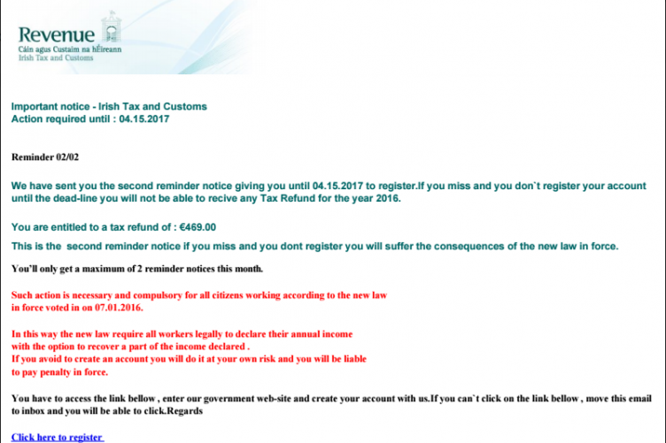 Mms Now Trying To Scam Irish >> Revenue Warns Of New Scam That Claims Taxpayers Are Due A Tax Refund