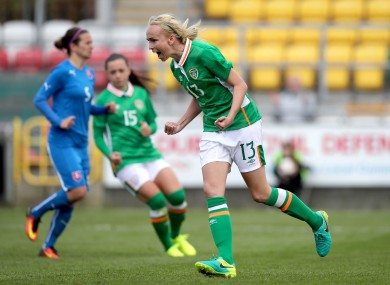 Stephanie Roche celebrates her goal.