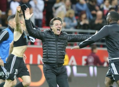 Amiens coach Christophe Pellissier celebrates his side's remarkable promotion.