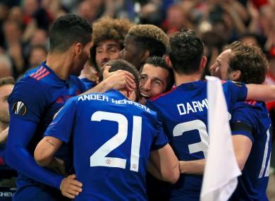 Manchester United's Henrikh Mkhitaryan celebrates scoring his side's second goal.