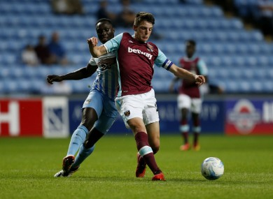 Declan Rice pictured playing for West Ham's U21s.